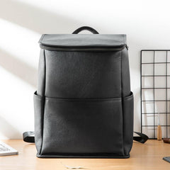 Black Fashion Mens Leather 15-inch Computer Backpacks Business Travel Backpacks College Backpack for men