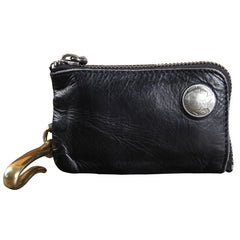 Handamde Genuine Leather Mens Cool Key Wallet Card Slim Wallet Key Holder Car Key Case for Men
