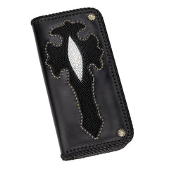 Handmade Leather Cross Mens Biker Wallet Cool Leather Wallet Long Phone Wallets for Men
