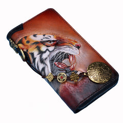 Handmade Leather Tooled Tiger Mens Chain Biker Wallet Cool Leather Wallet Long Clutch Wallets for Men