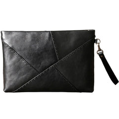 Genuine Leather Mens Clutch Cool Slim Wallet Zipper Clutch Wristlet Bag Wallet for Men Women