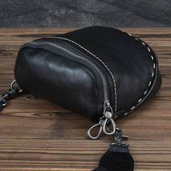 Black MENS LEATHER FANNY PACK Messenger Bag BUMBAG Side Bag WAIST BAGS Belt Pouch For Men