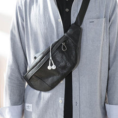 Fashion Black Leather Mens Chest Bag Sling Bag Black One Shoulder Backpack for Men