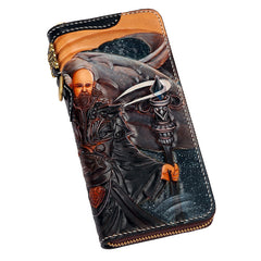 Handmade Leather Taming Dragon Mage Mens Chain Biker Wallet Cool Leather Wallet With Chain Wallets for Men