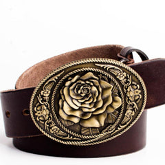 Handmade Genuine Leather Punk Rock Floral Peony Mens Cool Men Biker Trucker Leather Belt
