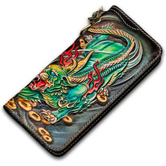 Handmade Leather Chinese Monster Mens Chain Biker Wallet Cool Leather Wallet With Chain Wallets for Men