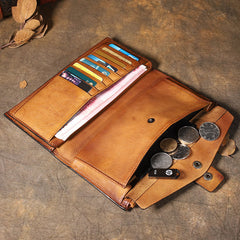 Cool Brown Leather Mens Long Wallet Gray Buckled Long Wallet Bifold Clutch Wallet for Men
