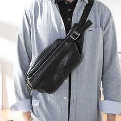 Black Casual Leather Mens 8inches Sling Bag Chest Bag Black One Shoulder Backpack for Men