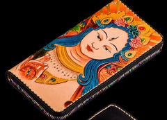 Handmade Leather Men Tooled White Tara Cool Leather Wallet Long Phone Clutch Wallets for Men