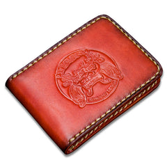 Handmade Leather License Wallet Tooled Mens Short Wallet Cool Leather Wallet Slim Wallet for Men