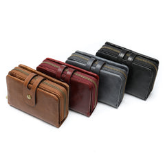 Cool Brown Leather Men's Black Short Small Wallet Black Bifold Wallet For Men