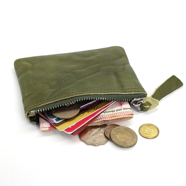 Leather Mens Zipper Front Pocket Wallet Small Wallet Card Wallet Change Wallet for Men