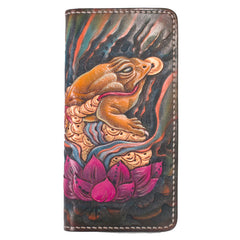 Handmade Leather Tooled Golden Toad Mens Chain Biker Wallet Cool Leather Wallet Long Phone Wallets for Men