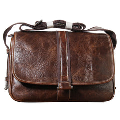 Handmade Genuine Leather Mens Cool Messenger Bag Sling Bag Chest Bag Bike Bag Cycling Bag for men
