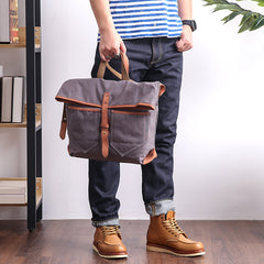 Canvas Leather Mens 13'' Khaki Side Bag Courier Bag Messenger Bag Black Shoulder Bag for Men