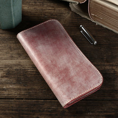 Handmade Mens Brown Leather Long Wallet Bifold Long Wallet Brown Card Wallet For Men