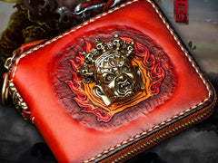 Handmade Mahākāla Leather Brown Biker Wallet Mens Cool Short Chain Wallet Trucker Wallet with Chain