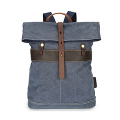 Cool Waxed Canvas Blue Leather Mens Backpack Canvas Travel Backpack Canvas School Backpack for Men