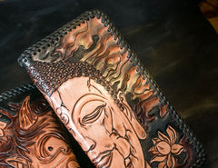Handmade Leather Mens Clutch Wallet Tooled Cool Buddha Wallet Long Zipper Wallets for Men