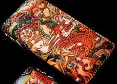 Handmade Leather Tooled White Jambhala Mens Chain Biker Wallet Cool Leather Wallet Zipper Long Phone Wallets for Men