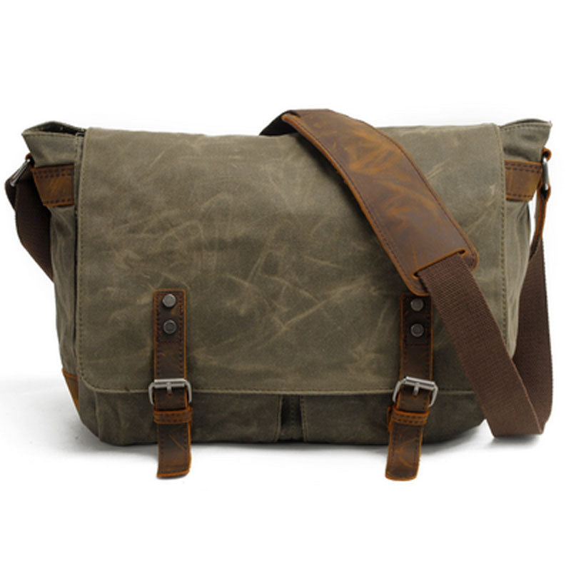 Mens Waxed Canvas Side Bag Canvas Courier Bag Shoulder Bag for Men