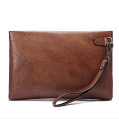 Genuine Leather Mens Urban Cohort Clutch Cool Slim Wallet Zipper Clutch Wristlet Wallet for Men