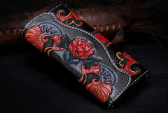 Handmade Leather Mens Womens Tooled Phoenix Clutch Wallet Cool Wallet Long Wallets for Men Women