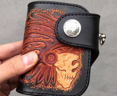 Handmade Leather Tooled Skull Indian Chief Biker Wallet Mens Cool Short Chain Wallet Trucker Wallet with Chain