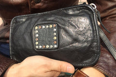 Handmade Genuine Leather Mens Clutch Cool Long Wallet Zipper Clutch Wristlet Wallet for Men