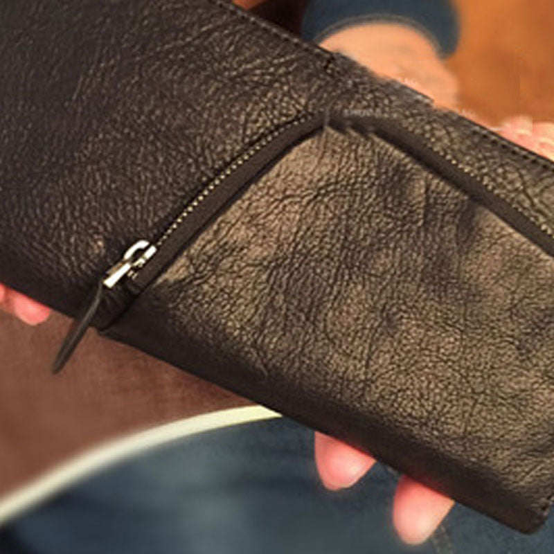 Genuine Leather Mens Cool Long Leather Phone Wallet Zipper Clutch Wristlet Wallet for Men