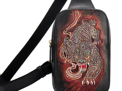 Handmade Leather Tooled Mens Cool Chest Bag Sling Bag Crossbody Bag Travel Bag Hiking Bag for men