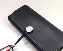 Handmade Leather Mens Clutch Wallet Cool Wallet Long Wallets Biker Chain Wallet for Men