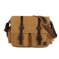 Canvas Leather Women Mens Blue 15'' Messenger Bag Khaki Side Bag Brown Shoulder Bag For Men