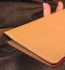 Handmade Leather Mens Cool Long Leather Wallet Slim Travel Passport Wallet for Men