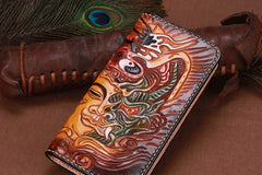 Handmade Leather Mens Clutch Wallet Cool Buddha&Demon Tooled Wallet Long Zipper Wallets for Men