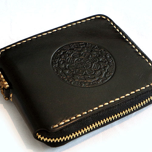 Handmade Leather Mens Chain Biker Wallet Cool Leather Wallet Small Wallets for Men