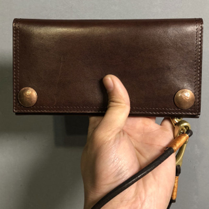 Handmade Leather Mens Cool Long Leather Wallet Biker Wallet Clutch Wallet for Men