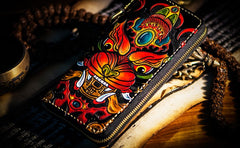 Handmade Leather Tooled Chinese Monster Mens Chain Biker Wallet Cool Leather Wallet Zipper Long Phone Wallets for Men