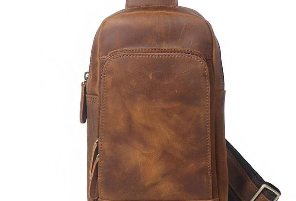 Cool Leather Chest Bag Sling Bag Crossbody Bag Travel Bag Sling Hiking Bag For Mens