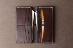 Genuine Leather Mens Cool Long Leather Wallet Cards Phone Bifold Clutch Wallet for Men