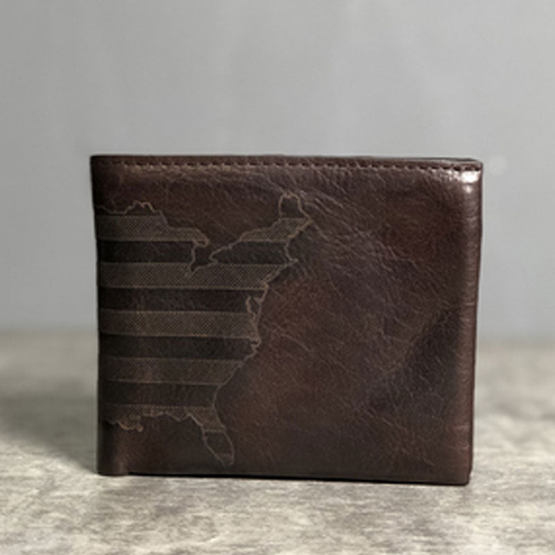 Handmade Leather Mens Cool Slim billfold Leather Wallet Men Small Wallets Bifold for Men