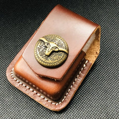 Brown Handmade Leather Mens OX Zippo Lighter Holders Lighter Case For Men