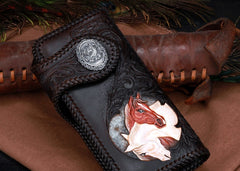 Handmade Leather Horse Mens Chain Biker Wallet Cool Leather Wallet With Chain Wallets for Men