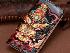 Handmade Leather Tooled Monster Mens Chain Biker Wallet Cool Leather Wallet Zipper Long Phone Wallets for Men