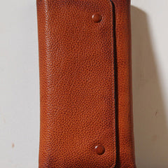 Handmade Genuine Leather Mens Cool Long Leather Wallet Phone Wallet Clutch Wallet for Men