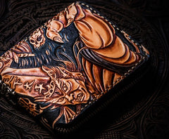 Handmade Leather Chinese Black&White Tooled Mens Short Wallet Cool Leather Wallet Slim Wallet for Men