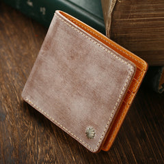 Casual Handmade Mens Black Short Wallet Red Bifold Card Wallet Small Wallet For Men