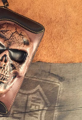 Handmade Genuine Leather Mens Clutch Cool Long Wallet Skull Zipper Clutch Wristlet Wallet for Men