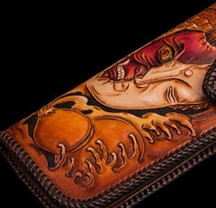 Handmade Leather Tooled Buddha&Demon Mens Chain Biker Wallet Cool Leather Wallet With Chain Wallets for Men