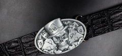 Handmade Genuine Leather Punk Rock Skull Mens Cool Men Biker Trucker Leather Belt